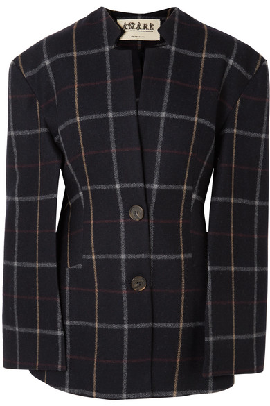 A.W.A.K.E. Checked Wool-Blend Blazer, Blue