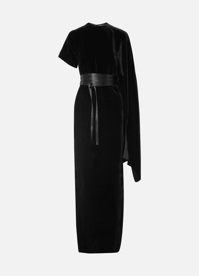 A.W.A.K.E. Draped Asymmetric Velvet Maxi Dress, Black