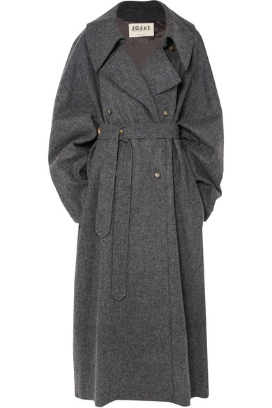 A.W.A.K.E. Oversized Double-Breasted Wool-Blend Felt Coat, Charcoal