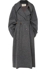 Oversized double-breasted wool-blend felt coat