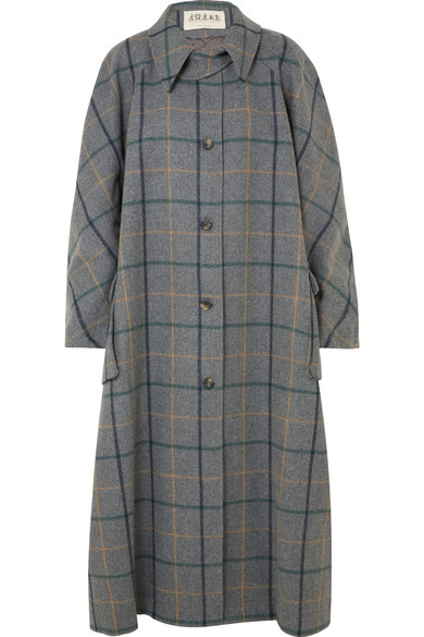 A.W.A.K.E. Oversized Checked Wool-Blend Coat in Anthracite