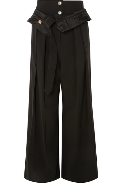 A.W.A.K.E. Folded Wool-Blend Wide-Leg Pants, Black