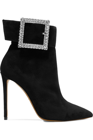 Yasmin Swarovski Crystal-Embellished Suede Ankle Boots, Black