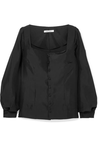 DEITAS Gaia Silk-Satin Blouse in Black
