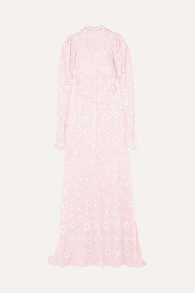 Paco Rabanne - Floral-print Satin Maxi Dress - Pink