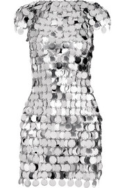 Paco Rabanne Embellished metallic mini dress