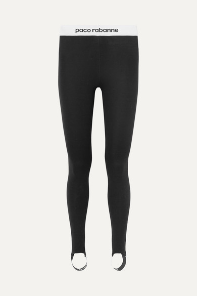 Paco Rabanne - Printed Stretch-jersey Stirrup Leggings - Black