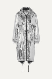 Hooded printed metallic shell jacket