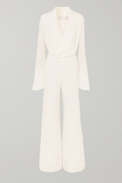 LES HÉROÏNES The Betty Crepe Jumpsuit in White