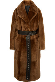 Common Leisure Love oversized belted shearling coat