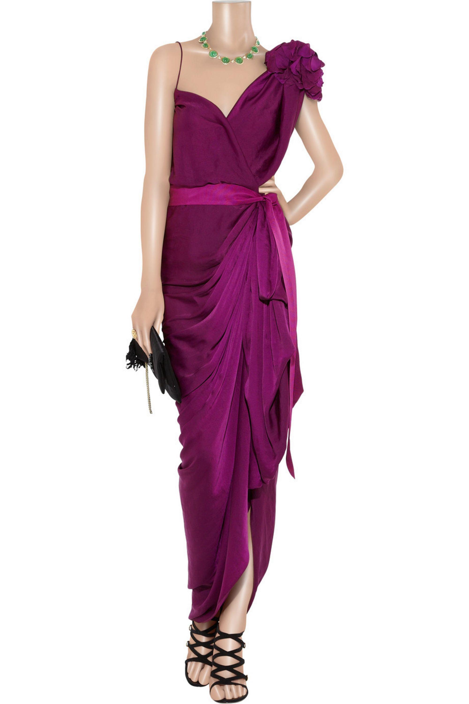 Lanvin Asymmetric washed-satin gown