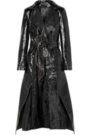 Marvin crinkled-leather trench coat