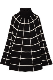 Charlotte checked wool and cashmere-blend turtleneck poncho