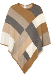 Chiara Poncho aus Kaschmir in Colour-Block-Optik