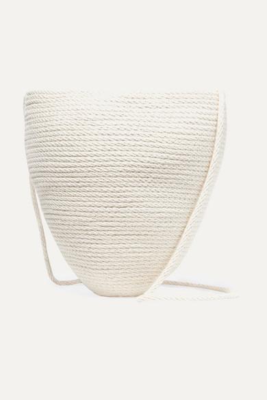 CATZORANGE Woven Cotton Bucket Bag in Cream