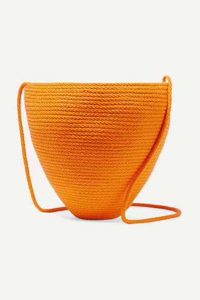 CATZORANGE Woven Cotton Bucket Bag in Orange