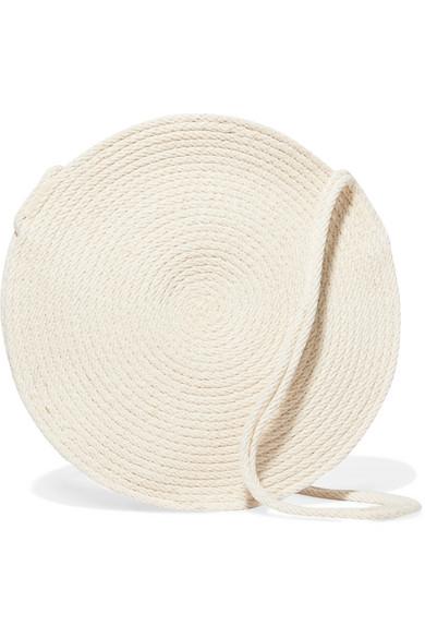 CATZORANGE Circle Small Woven Cotton Shoulder Bag in Cream