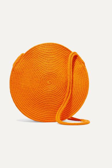 CATZORANGE Circle Small Woven Cotton Shoulder Bag in Orange