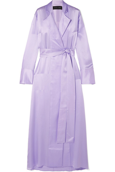 Belted Silk-Satin Trench Coat in Lilac