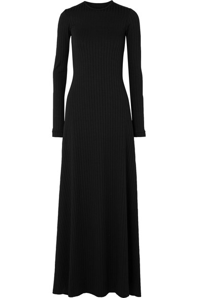 MICHAEL LO SORDO OPEN-BACK RIBBED STRETCH-JERSEY MAXI DRESS