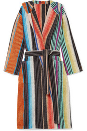 Hooded striped cotton-terry robe