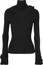 Chloé Ruffled ribbed wool turtleneck sweater