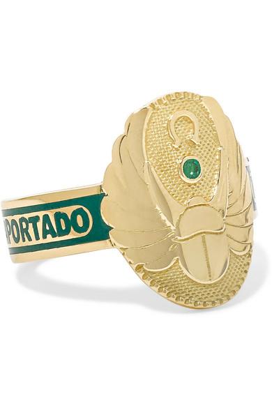 Foundrae Protection 18-karat Gold, Diamond And Enamel Ring