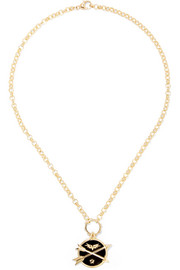 Crossed Arrows 18-karat gold, enamel and diamond necklace