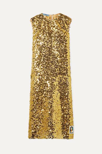 Sequined Organza Midi Dress in Metallic