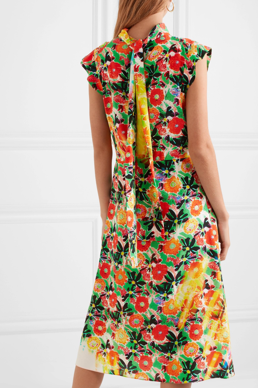 Prada Floral-print silk-crepe midi dress
