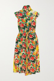 Prada Floral-print silk-crepe midi dress