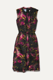 Prada Floral-print jersey and organza midi dress