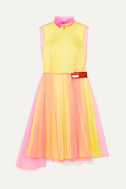 Prada Layered tulle and silk-satin dress