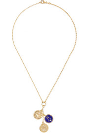 Dream, Karma and Protection 18-karat gold, diamond and enamel necklace