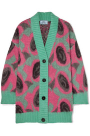 Oversized printed mohair-blend cardigan