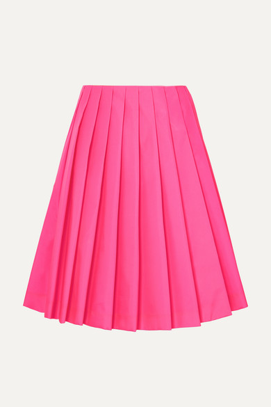 Wrap-Effect Pleated Shell Skirt in Pink