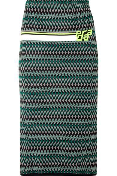 Prada - Intarsia-knit Skirt - Green