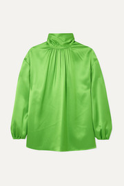 Prada Gathered neon silk-satin blouse