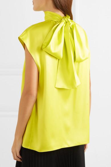 2284f45e66bb5 Prada. Gathered neon silk-satin blouse.  1