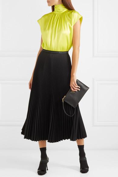 8e79db4479f9c Prada. Gathered neon silk-satin blouse