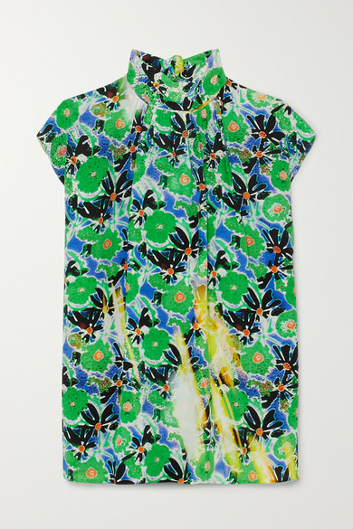 Prada - Printed Silk Crepe De Chine Top - Green