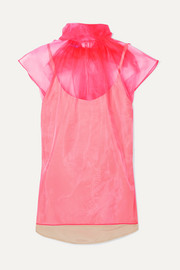 Prada Bow-embellished neon silk-organza top