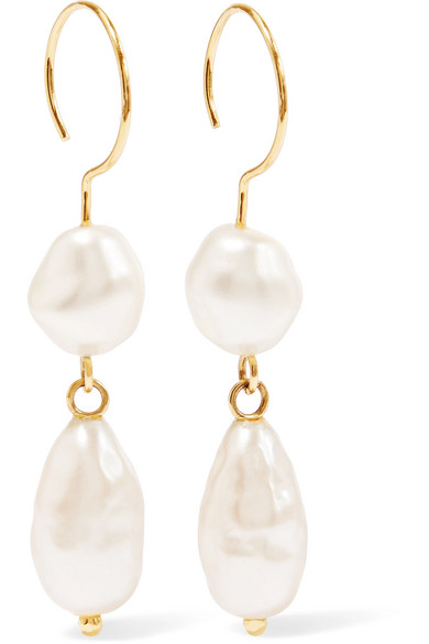 BEAUFILLE Baroque gold-plated faux pearl earrings