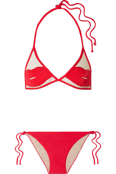 ADRIANA DEGREAS CHARLOTTE OLYMPIA PIN-UP KISS TULLE-PANELED TRIANGLE BIKINI