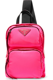 Leather-trimmed neon shell backpack