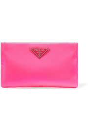 Prada Small neon leather-trimmed shell pouch