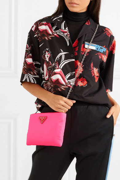 1d205c4b80bc Prada | Small neon leather-trimmed shell pouch | NET-A-PORTER.COM