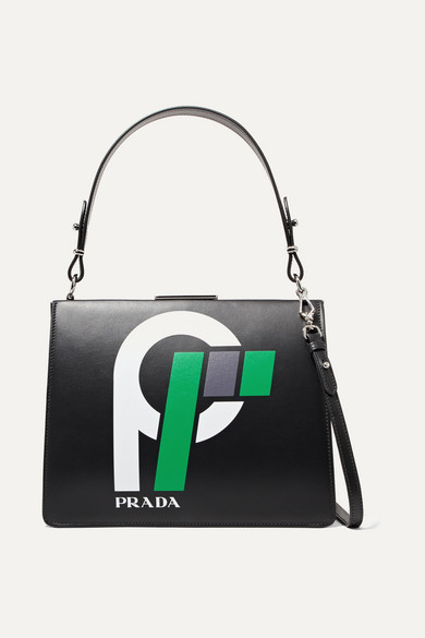Frame Printed Leather Shoulder Bag in Black