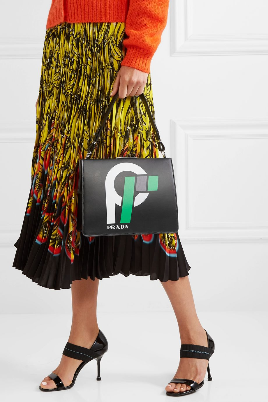 Prada Frame printed leather shoulder bag