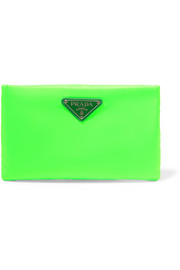 Prada Small leather-trimmed neon shell pouch